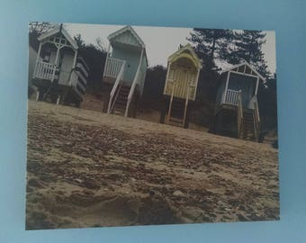 Wells-Next-The-Sea Beach Huts-- in North Norfolk, England-- Wall Art Photography-- 11 x 14 inches canvas