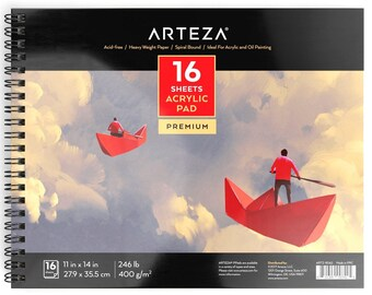 "Arteza Acrylic Pad 11X14"" (246lb/400g, 16 Sheets)"