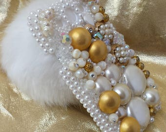 Pearls Gold and PomPom Bling IZZO Designs Cell Cover Case