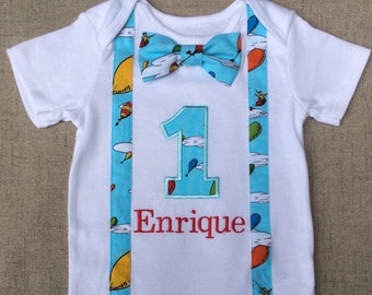 Dr. Seuss Birthday Onesie, Suspenders and Bow tie, Oh, the places you'll go, Dr. Seuss Birthday Outfit