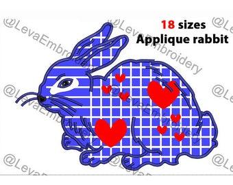 Rabbit Applique Design. Machine embroidery design. 18 sizes. Rabbit embroidery design. Rabbit applique. Machine embroidery Rabbit.