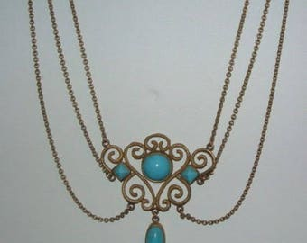 Unique And Lovely Antique  Three Tier Necklace With Turquoise Colored Glass