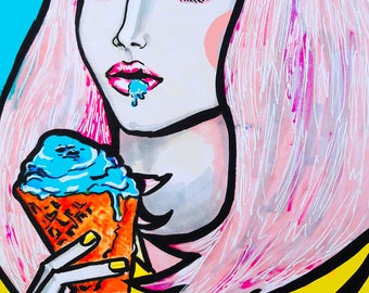 Illustration. Girl with ice-cream.
