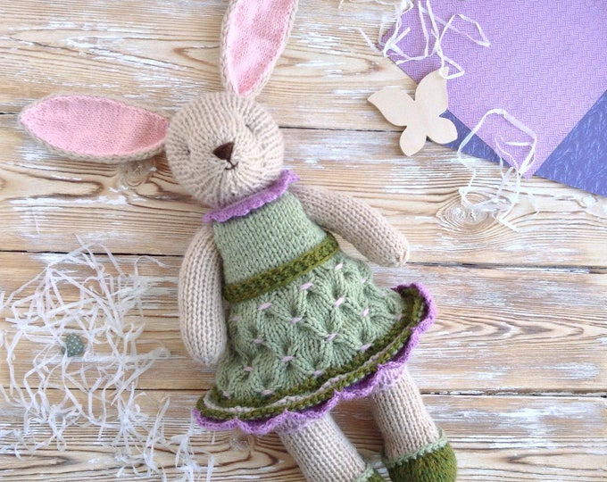 Hand knitted bunny rabbit. Knitted stuffed animals. Soft knit toy bunny. Handmade toys.