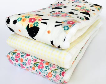 Flannel Cloth Diaper Burp Cloth - Set of 2 or 3 - Baby Girl