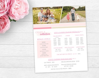 Photography Price Guide Template- Price List for Photographers -Create a Collection Price Guide -Investment Guide Photography- Product guide