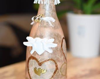 Wedding bottle, Dekofasche, bottle filling