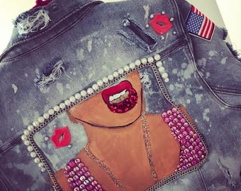 Hand painted gangsta gurl distressed denim jacket with