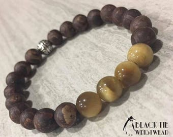8mm Yellow Tiger Eye Chrysanthemum Natural Stone Stretch Bracelet