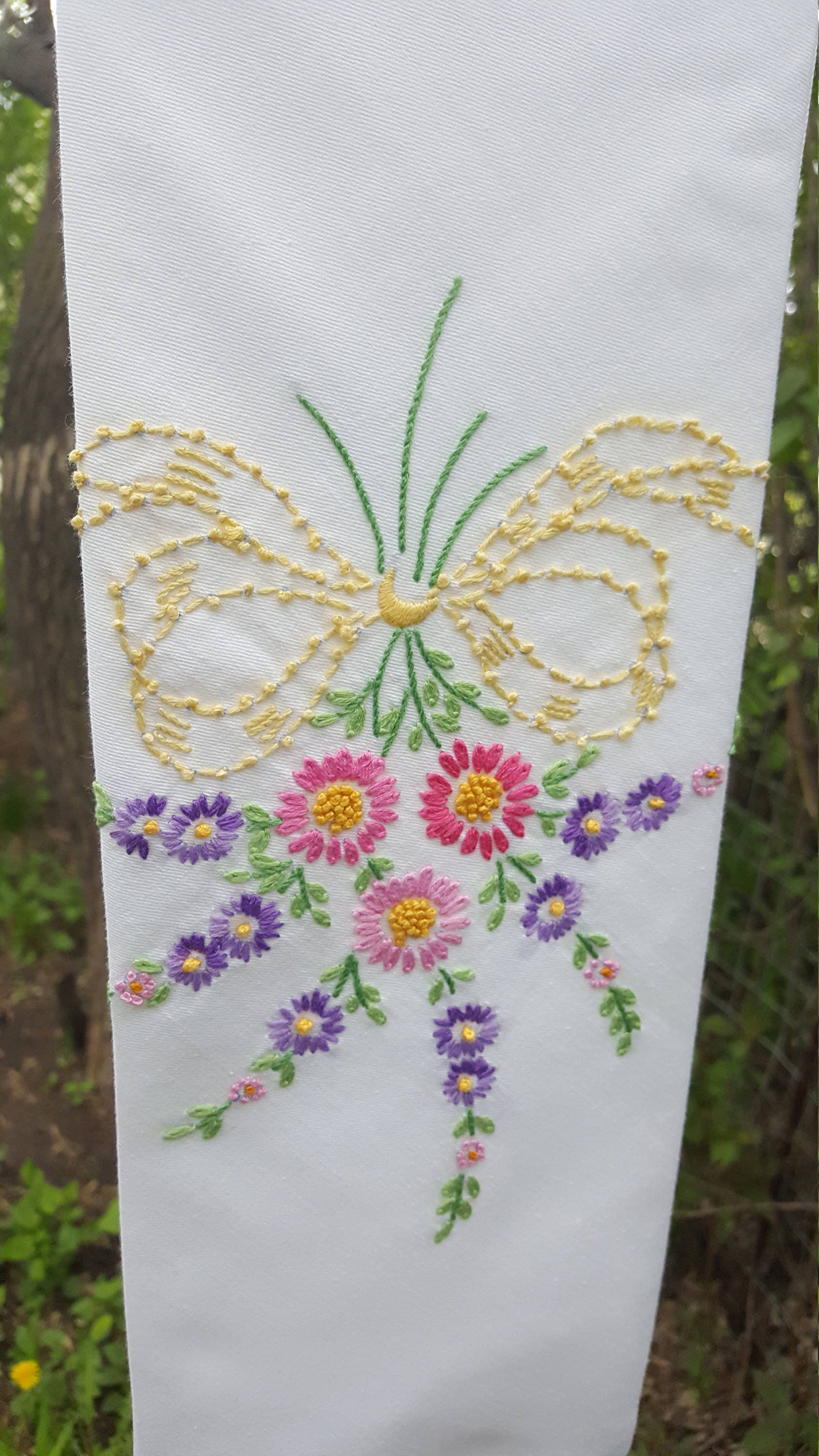 White wedding clergy stole upcycled hand embroidered floral