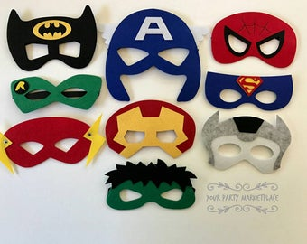 SET OF 9 Superhero Party Masks, Superhero Party,Superhero Party Favors,Batman Party, Superhero Birthday Party, Superman Party,Avengers Party