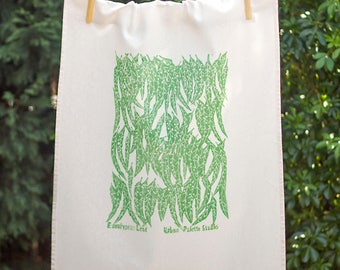 Eucalyptus Leaf 75% Linen Handprinted Original Artwork Tea Towel