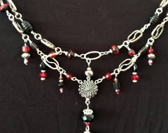 Red Black and Silver Dangle Necklace