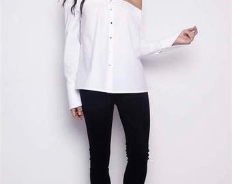 Long Sleeves Loose Shirt/Off Shoulder Loose Top/Loose Off Shoulder Shirt