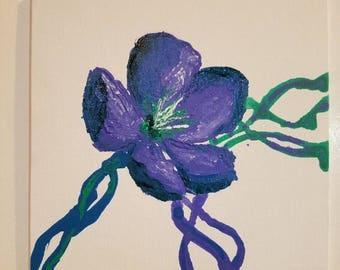 Original Acrylic Modern Flower Painting 8x8
