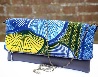 Foldover Clutch, Leather Clutch, African Print Clutch Ethnic Print Ankara clutch Tribal Print Accessories, Gift