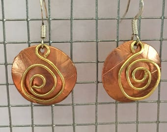 Handmade copper and brass earrings