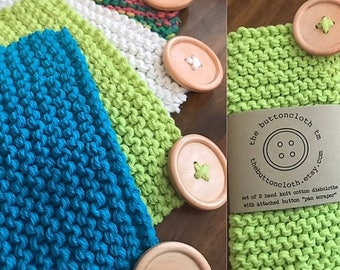 Pick From 26 Colors - Set of 2 Pot Scrubber Cotton Dishcloths - Hand Knit - Attached Wood Button Pan Scraper - The Buttoncloth tm