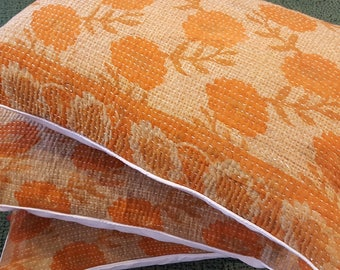 """Set of Three Orange Cotton Kantha Pillow Covers / Hand Stitched Vintage Indian Bohemian Rectangular 16x24"""" (40x60cm) Scatter Cushions"""