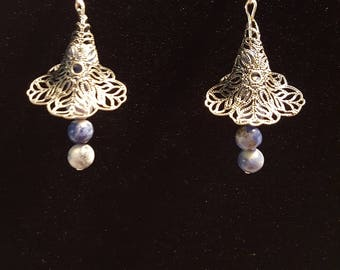 Silver and Blue Sodalite Earrings