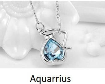 zodiac alloy crystal necklace - Aquarius