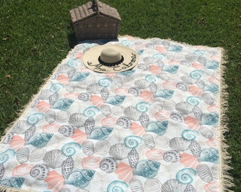 Sea shell with fringe Beach or pinic  Blanket Mother's Day gift
