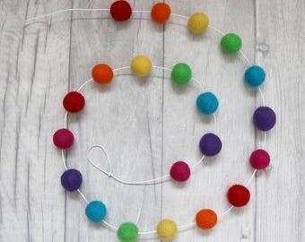 Rainbow Felt Ball Garland. Pom Pom Garland. Nursery Bunting. Rainbow Decor. Rainbow Nursery Decor. Rainbow Nursery. Gender Neutral Nursery