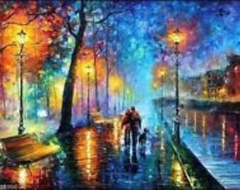 Original Oil Painting of Paris by Night