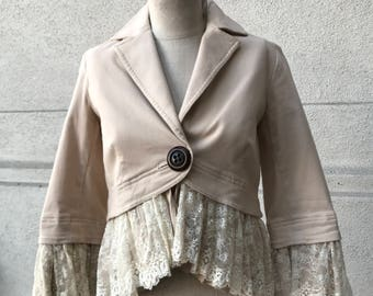 Robert Rodriguez Fitted Romantic Lace Hem Jacket