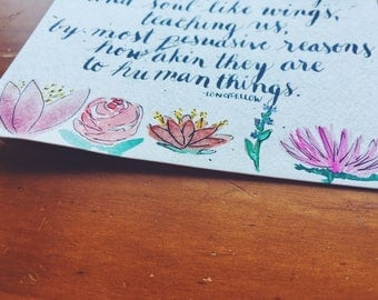Longfellow Flower Poem with watercolor flowers