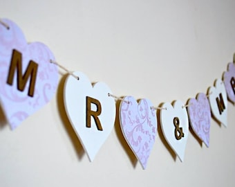 Wedding Mr & Mrs Garland - Wooden Wedding Bunting