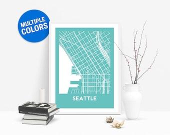 Seattle Full Color Map Print | Seattle United States Map | Seattle Washington USA Art