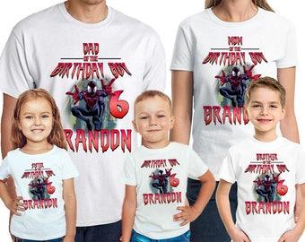 Spider-Man Birthday T-Shirt Custom Name Age The Amazing Spiderman Birthday Boy Personalized Shirt