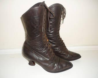 Vintage HOBBS Baroque Style Leather Boots Size 36 / 3