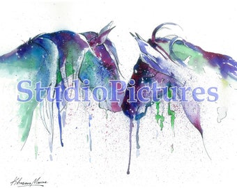 Blue Horses, Watercolor Horse, Wild Pony Painting, Wild Horse Print, Watercolor Pony, Colorful Horse Painting, Wild Horse Picture, Pony