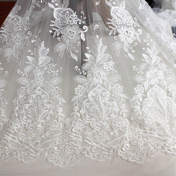 One yard luxurious embroidered floral white lace fabric with
