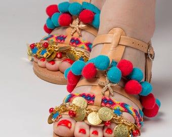 "Free Shipping\Greek sandals ""Sunrise"" \Pom pom shoes\Gladiator sandals\Colourful\Friendship shoes\Custom slides\Ethnic-Boho"