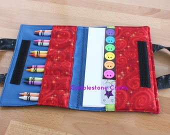 Crayon Notepad Holder Lg w/ Stickers - Blk Stars w/ Blue-Toddler Coloring, Kids Art Supplies, Crayon Holder, Crayon Notebook