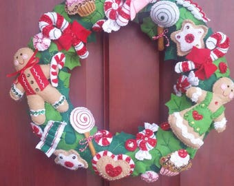 Bucilla gingerbread and cookies wreath made with felt and sequins/seed beads