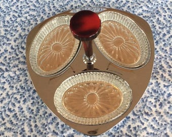 Vintage GloHill Relish Dish/Tray with Glass Dishes and Bakelite Handle Glo Hill