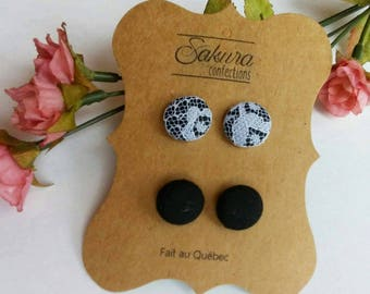Fabric button earrings earrings buttons fabric - Black Lace - made in Quebec