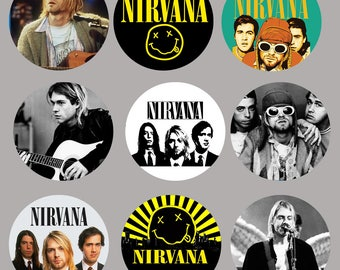 Nirvana Stickers - 9 different stickers 51mm