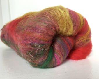 Red and Gold Indian Art Batt, Holi Art Batt, Art Batt, Indian Batt, Red and Gold Batt, Merino and silk batt, Fibre Batt for spinning, Fiber