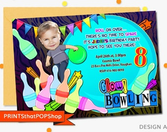 Bowling Invitation,FREE Bonus,Neon Bowling Invitation,Custom Face Invites,Bowling,Bowling Invite,Glow in Dark Bowling,Bowling Birthday Party