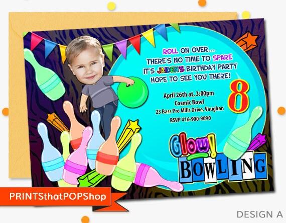bowling invitationfree bonusneon bowling invitationcustom, Invitation templates