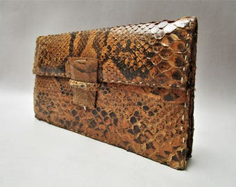 VINTAGE LEATHER HANDBAG-Genuine Python SUCCEED