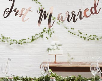 Rose Gold Just Married Backdrop, Rose Gold Just Married Bunting, Just Married Bunting