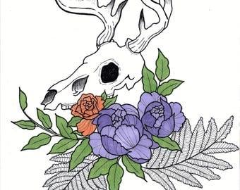 Deer skull A4 print