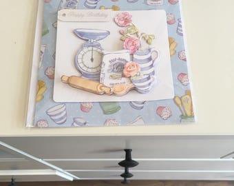 Ladies birthday card, cooking theme, decoupage