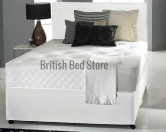 White Leather Divan Bed with Mattress and Headboard